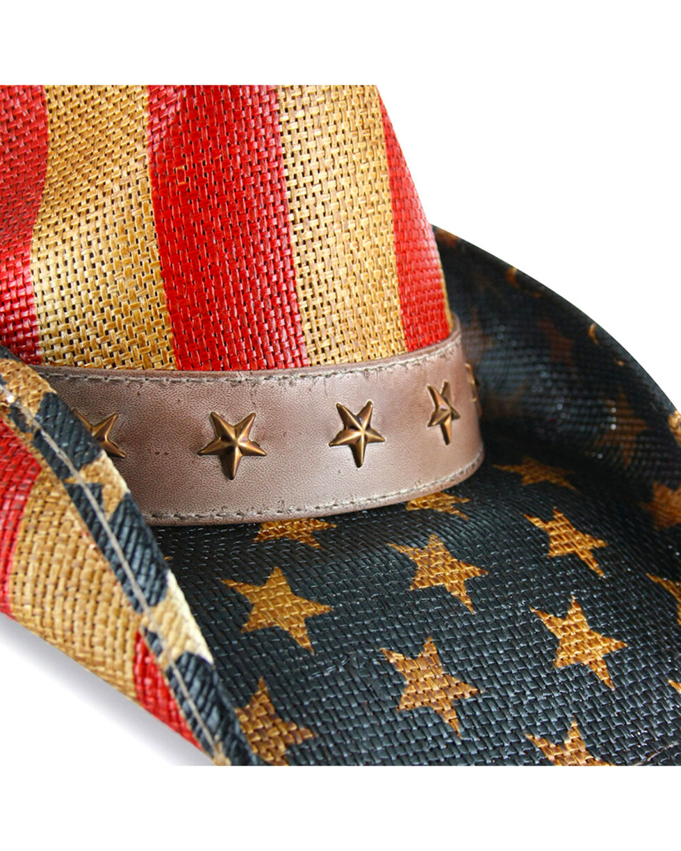 Cody James® American Flag Straw Western Hat, Am Spirit, hi-res
