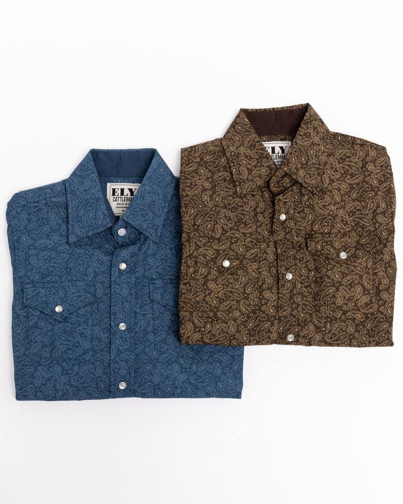 Ely Cattleman Boys' Assorted Mallard Paisley Print Long Sleeve Western Shirt , Multi, hi-res