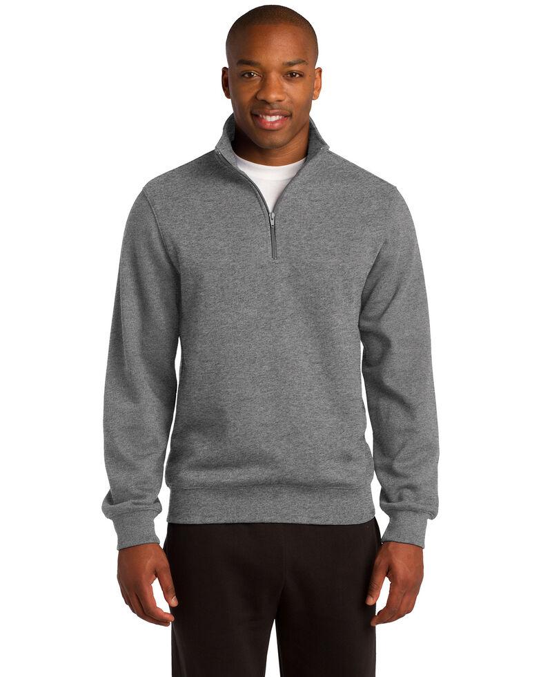 Sport Tek Men's Vintage Heather Grey 1/4 Zip Pullover Work Sweatshirt - Tall , Grey, hi-res