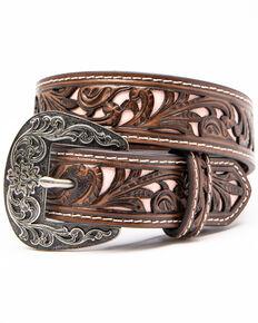 Shyanne Girls' Multi Tooled Pierced Belt , Brown, hi-res