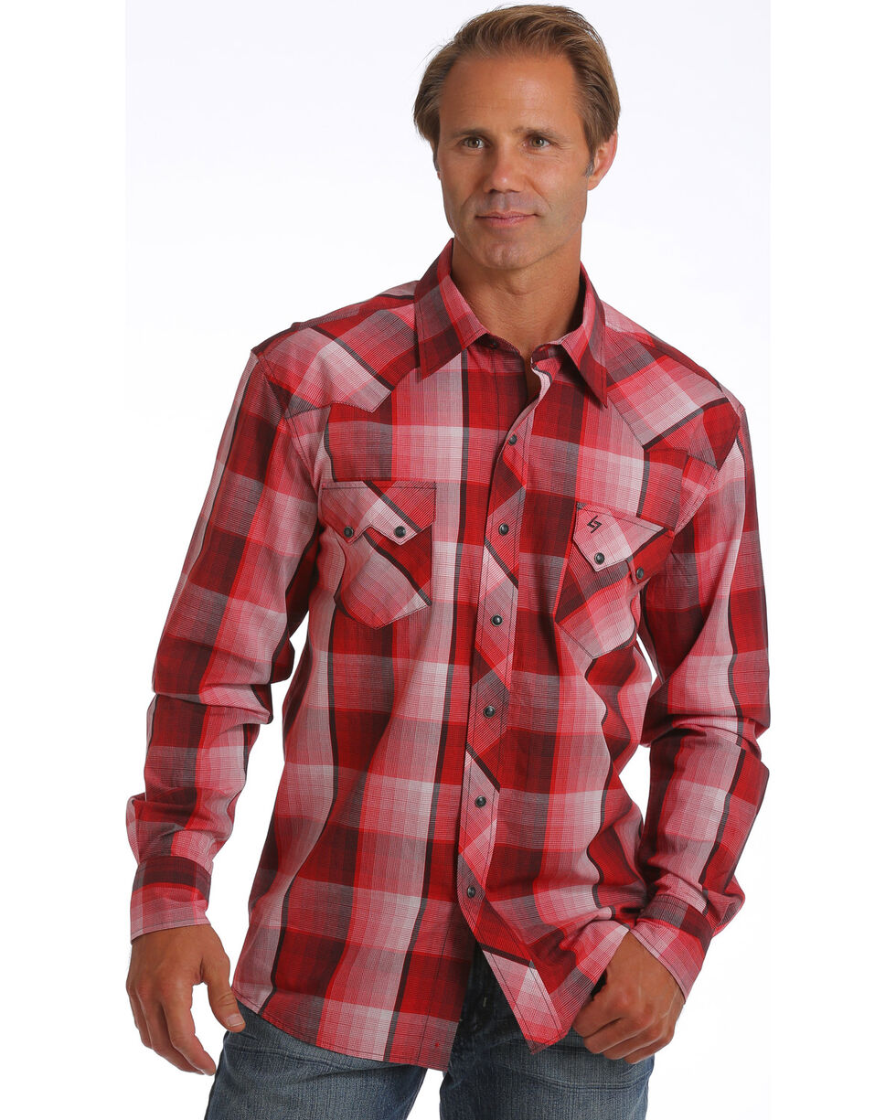 Garth Brooks Sevens by Cinch Men's Red Plaid Print Western Shirt, Red, hi-res