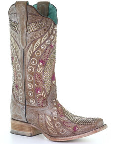 Corral Women's Taupe Flowered Embroidery Western Boots - Square Toe, Taupe, hi-res