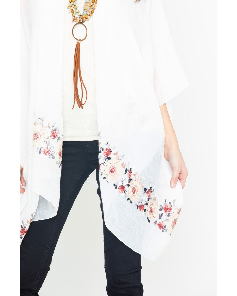 Shyanne Women's White Floral Embroidered Trim Wrap, White, hi-res