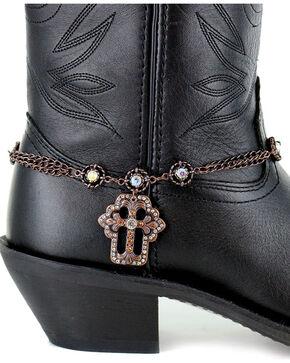 Shyanne® Women's Copper Cross Boot Bracelet , Brown, hi-res