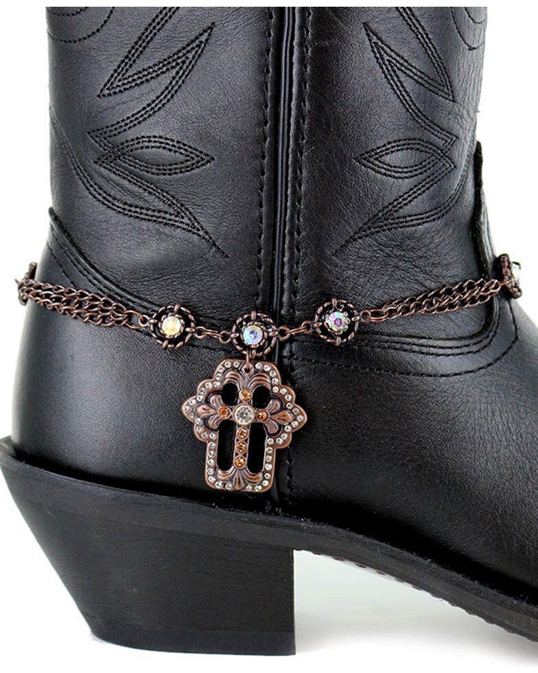 Shyanne Women S Copper Cross Boot Bracelet Brown Hi Res