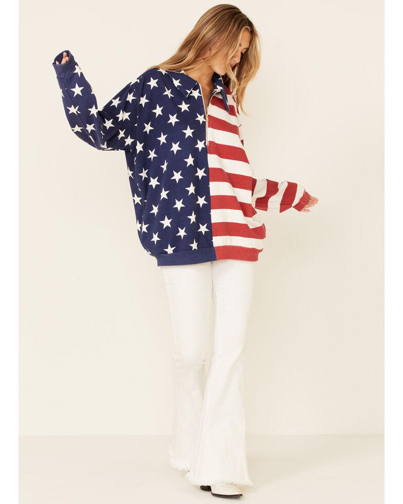Show Me Your Mumu Women's Benny Stars & Stripes American Print 1/2 Zip Pullover, Multi, hi-res
