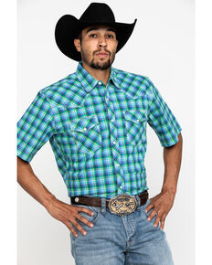 Wrangler 20X Men's Advanced Comfort Yellow Plaid Short Sleeve Western Shirt , Blue, hi-res