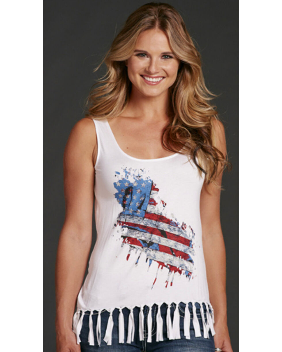 Cowgirl Up America Tank with Fringe, White, hi-res