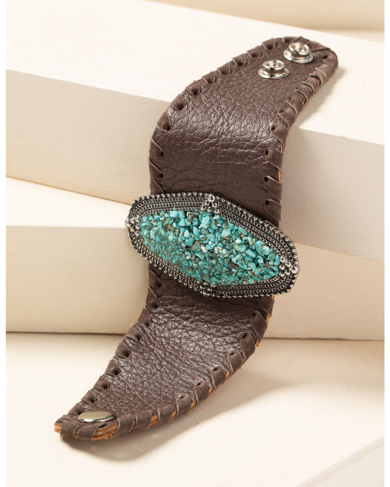 Idyllwind Women's Leather And Gem Cuff Bracelet, Brown, hi-res