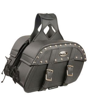 Milwaukee Leather Medium Zip-Off PVC Studded Throw Over Saddle Bag, Black, hi-res
