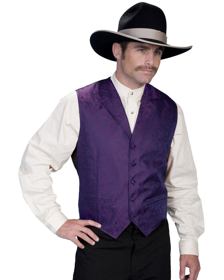 Rangewear by Scully Black Paisley Button Vest, Purple, hi-res