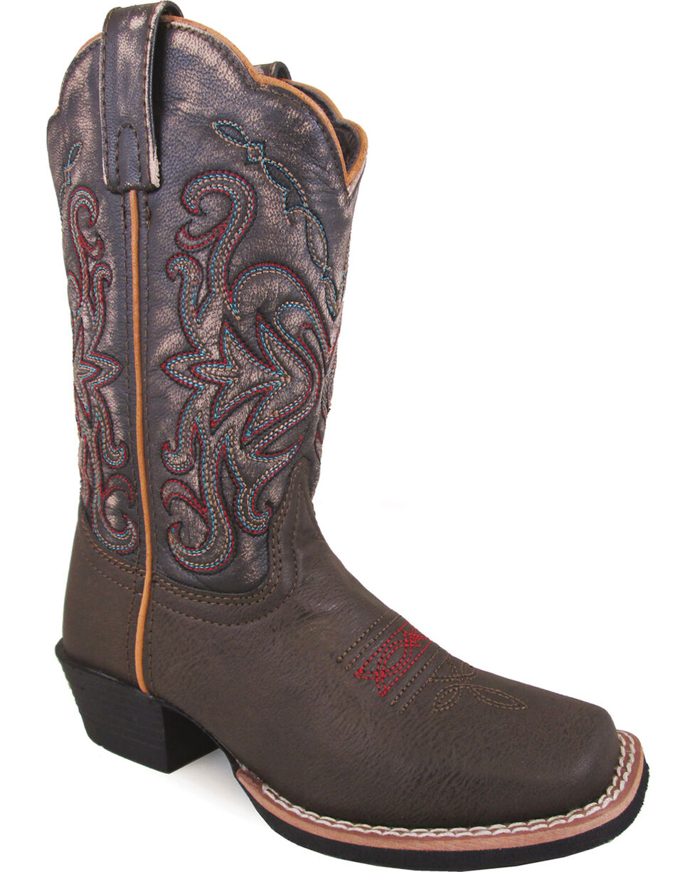 Smoky Mountain Girls' Fusion #2 Western Boots - Square Toe , Brown, hi-res