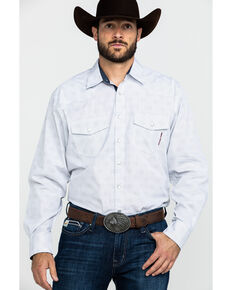 Resistol Men's Helm Solid Long Sleeve Western Shirt , White, hi-res