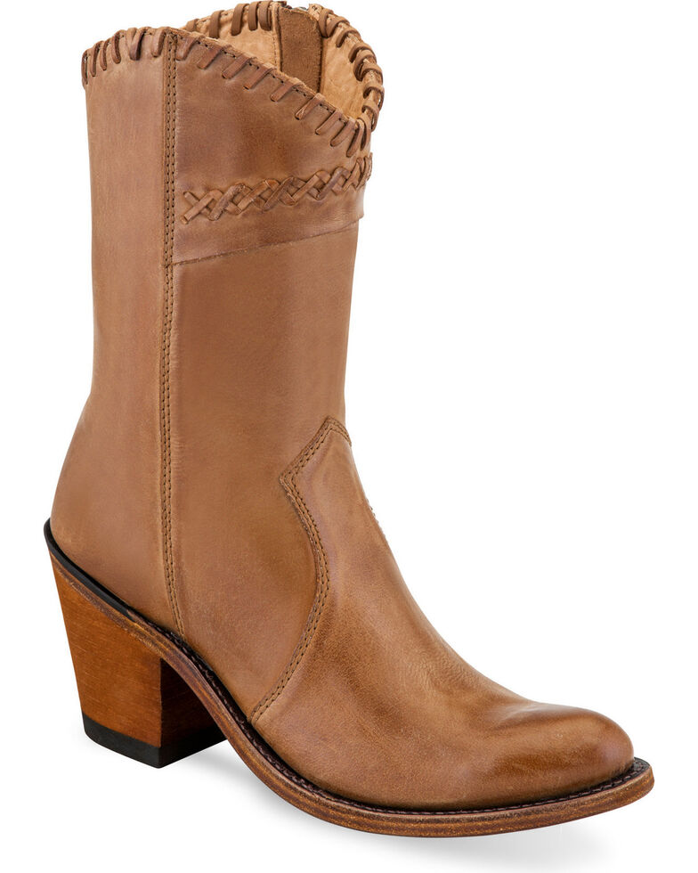 Old West Women's Tan Cross Stitch Cowgirl Boots - Round Toe, Tan, hi-res