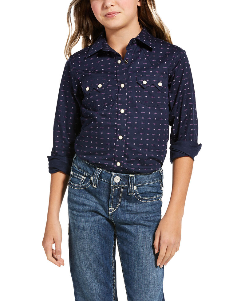 Ariat Girls' Navy Eclipse R.E.AL. Aztec Long Sleeve Western Shirt, Navy, hi-res
