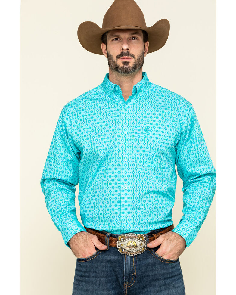 Ariat Men's Sebasopol Aztec Geo Print Short Sleeve Western Shirt - Big, Turquoise, hi-res