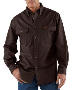 Carhartt Men's Sandstone Twill Long Sleeve Work Shirt - Big & Tall, Dark Brown, hi-res