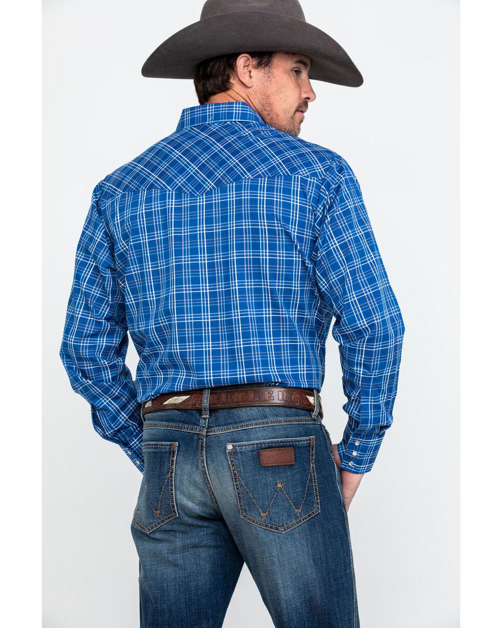 Ely Cattleman Men's Large Plaid Long Sleeve Western Shirt , Blue, hi-res