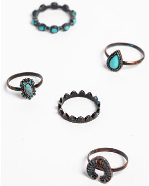Shyanne Women's Patina Crescent 5 Piece Ring Set, Turquoise, hi-res