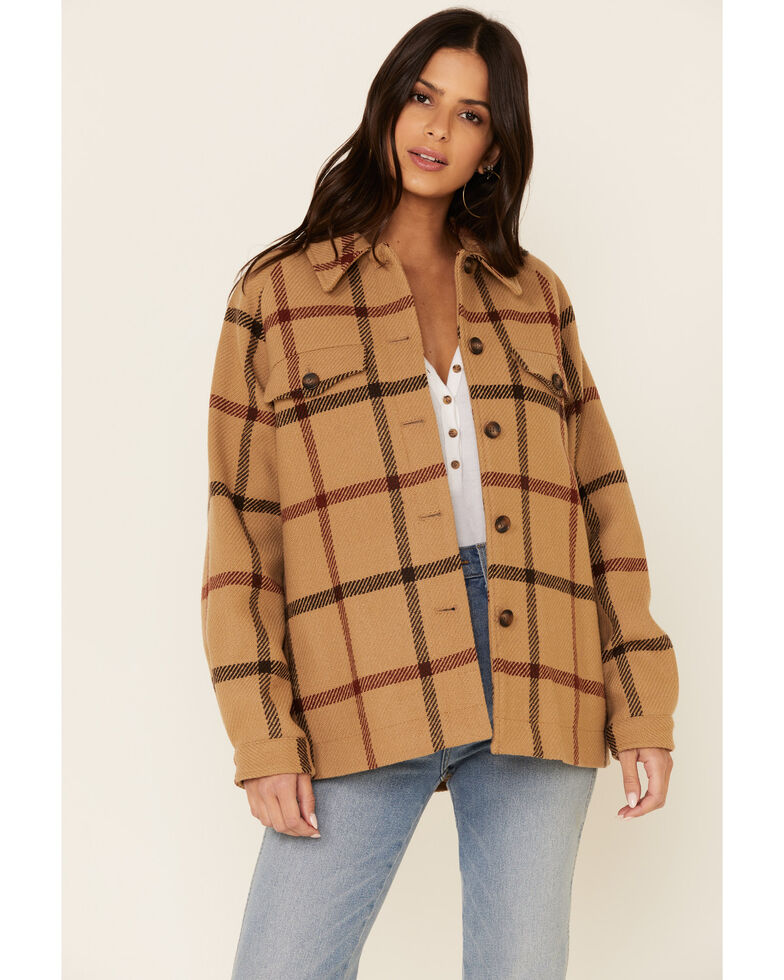 Pendleton Women's Tan Windowpane Daphne Wool Jacket  , Tan, hi-res