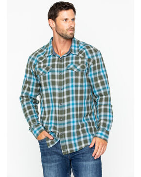 Cody James Men's Plaid Long Sleeve Juneau Shirt , Turquoise, hi-res