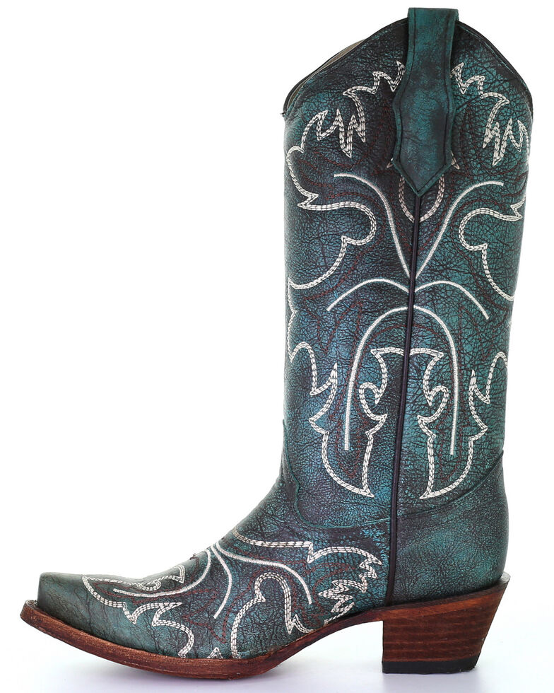 Corral Women's Turquoise White Embroidery Western Boots - Snip Toe, Turquoise, hi-res