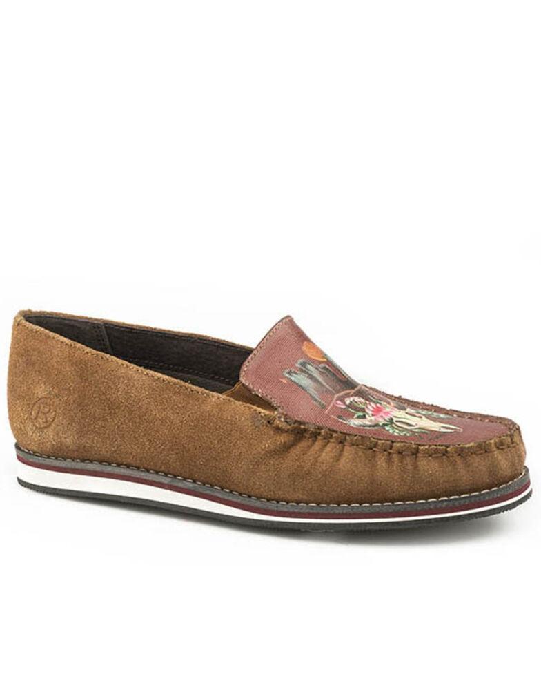 Roper Women's Cognac Suede Cow Skull Shoes - Moc Toe, Tan, hi-res
