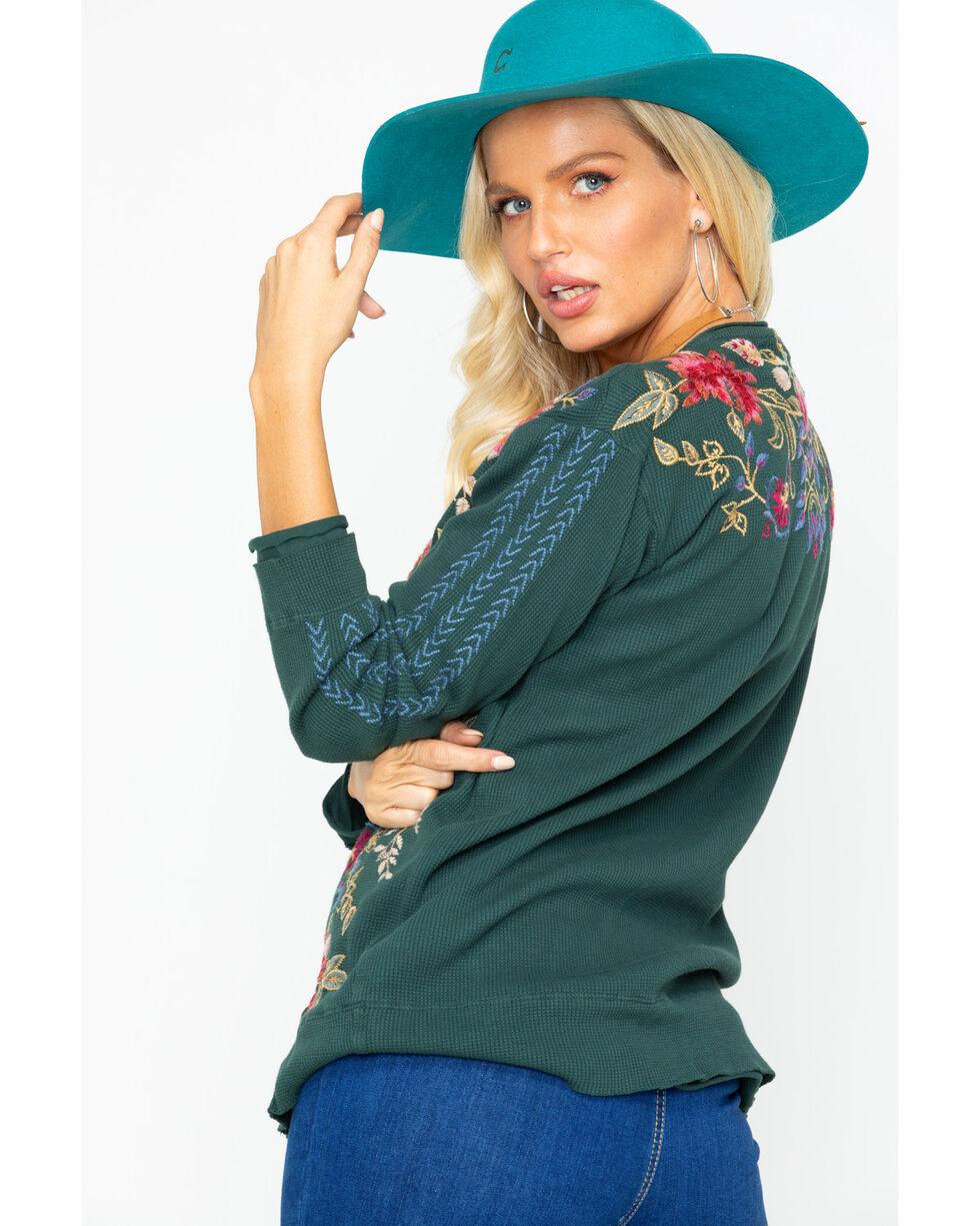 Johnny Was Women's Simona Long Sleeve Thermal Top, Dark Green, hi-res