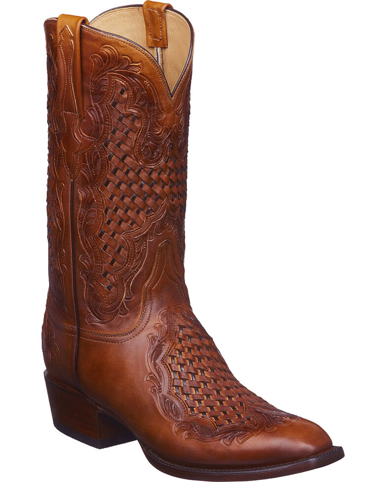 Lucchese Men's Aiden Cognac Woven Leather Inlay Western Boots - Square Toe, Cognac, hi-res