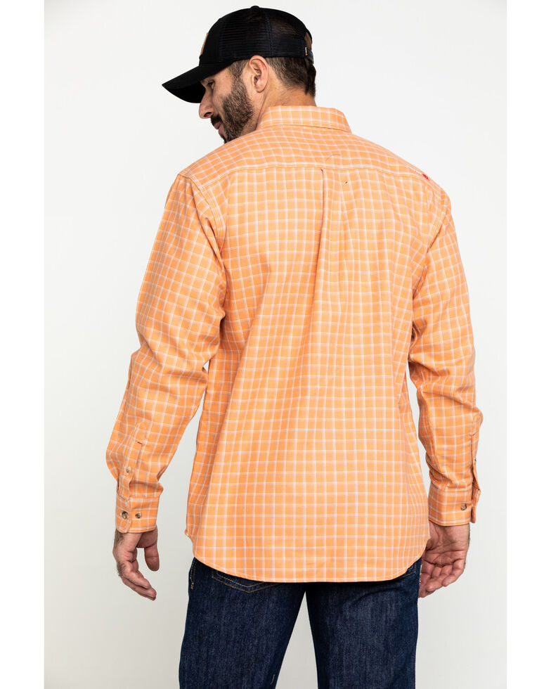 Ariat Men's FR Orange Excavator Plaid Long Sleeve Work Shirt - Big , Orange, hi-res
