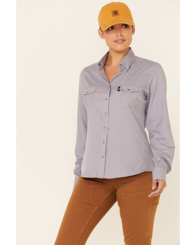 HOOey Women's Solid Violet Habitat Sol Lightweight Long Sleeve Snap Western Core Shirt , Violet, hi-res