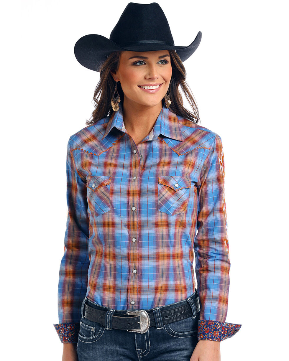 Panhandle Women's Ombre Plaid Long Sleeve Western Shirt, Multi, hi-res