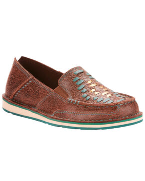 Ariat Women's Brown Rebel Cruise Weave Slip On Shoes - Moc Toe, Brown, hi-res