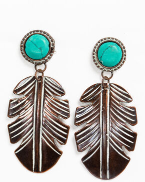 Shyanne Women's Chocolate Copper Turquoise Feather Earrings , Tan/copper, hi-res