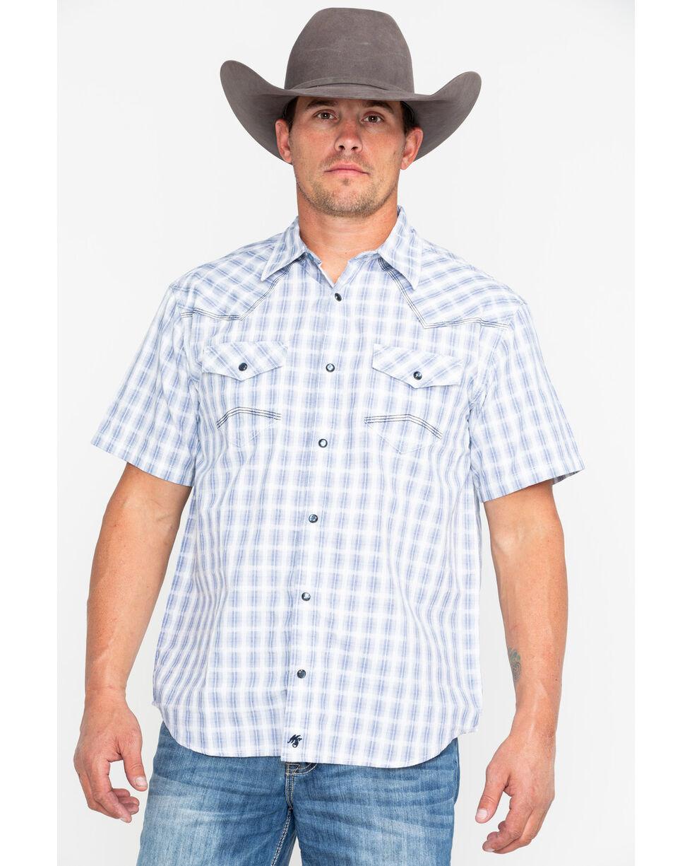 Moonshine Spirit Men's Day Drinking Plaid Short Sleeve Western Shirt, White, hi-res