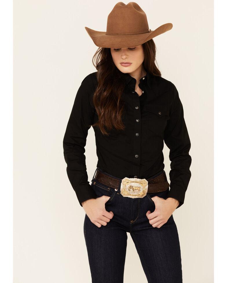 Wrangler Women's Black Long Sleeve Western Top, Black, hi-res