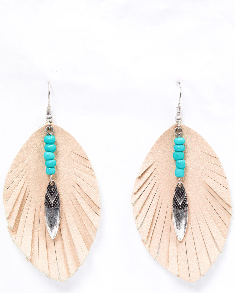 Shyanne Women's Emma Rae Pink Suede Feather Earrings, Blush, hi-res