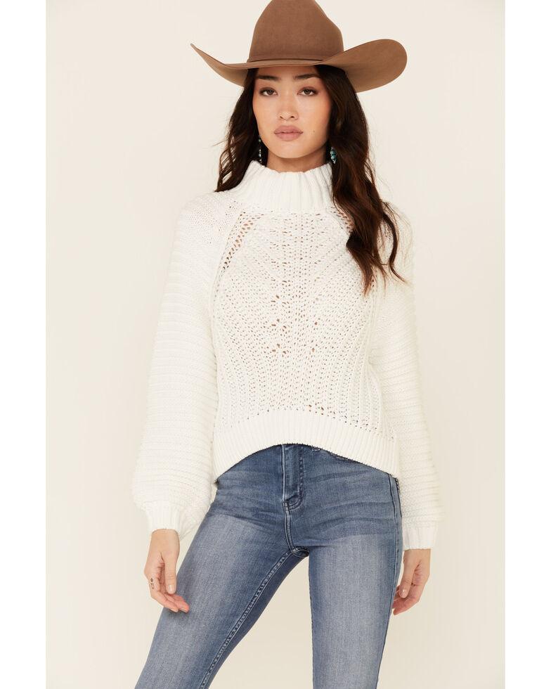 Free People Women's Eyelet Sweetheart Sweater , Dark Pink, hi-res