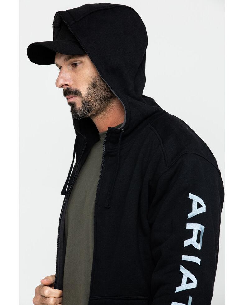 Ariat Men's Rebar All-Weather Full Zip Work Hoodie , Black, hi-res
