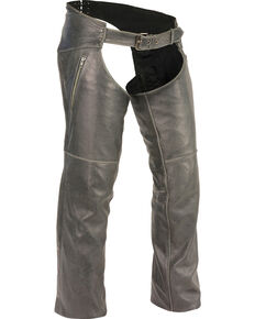 Milwaukee Leather Men's Grey Deep Thigh Vintage Chaps - Big 4X , Grey, hi-res