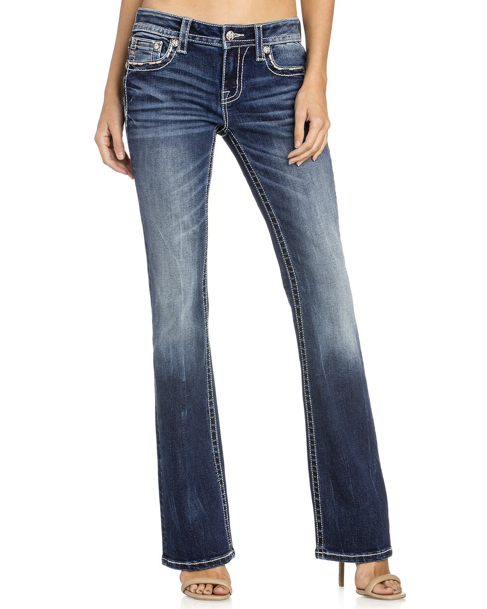 Miss Me Women's Floral Pocket Boot Cut Jeans, , hi-res