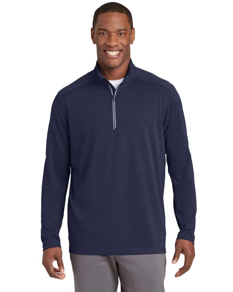 Sport Tek Men's Navy Sport Wick Textured 1/4 Zip Pullover Work Sweatshirt - Big , Navy, hi-res