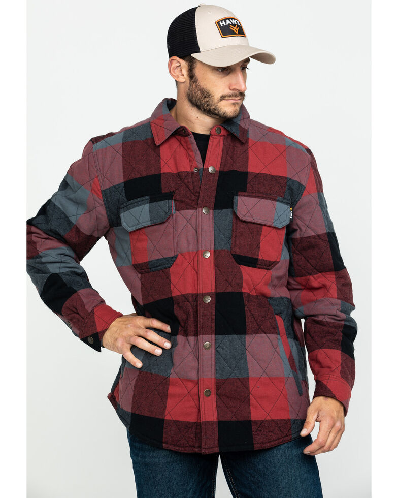 Hawx Men's Red Quilted Plaid Shirt Work Jacket - Big , Red, hi-res