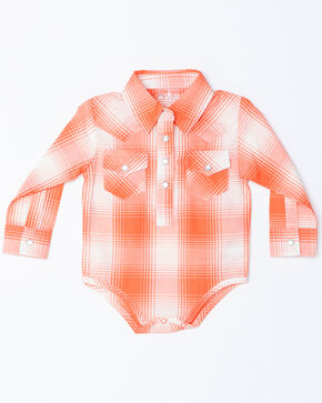 Wrangler Infant Girls' Pink Ombre Plaid Snap Onesie, Pink, hi-res
