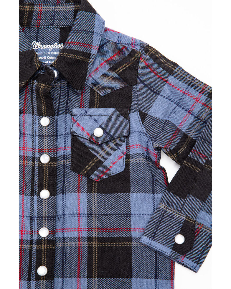 Wrangler Toddler Boys' Blue Plaid Long Sleeve Western Shirt , Blue, hi-res