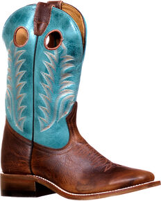 Boulet Women's Challenger Damiana Moka West Turqueza Cowgirl Boots - Square Toe, Brown, hi-res