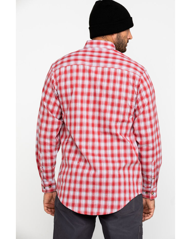 Wrangler Riggs Men's Red Plaid Long Sleeve Work Shirt - Big , Red, hi-res