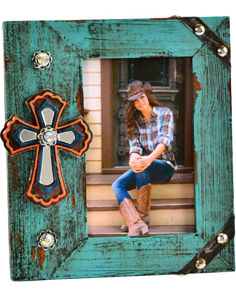 "Wooden Rhinestone & Cross 4"" x 6"" Photo Frame, Seafoam, hi-res"