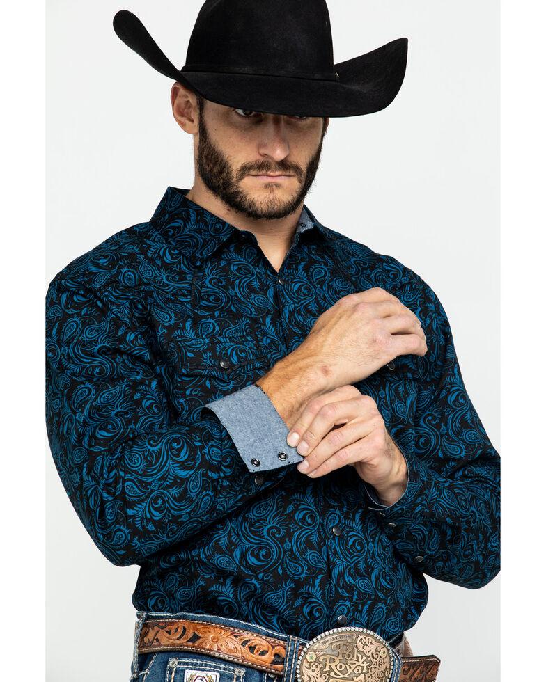 Cody James Men's Dandelion Paisley Print Long Sleeve Western Shirt , Black, hi-res