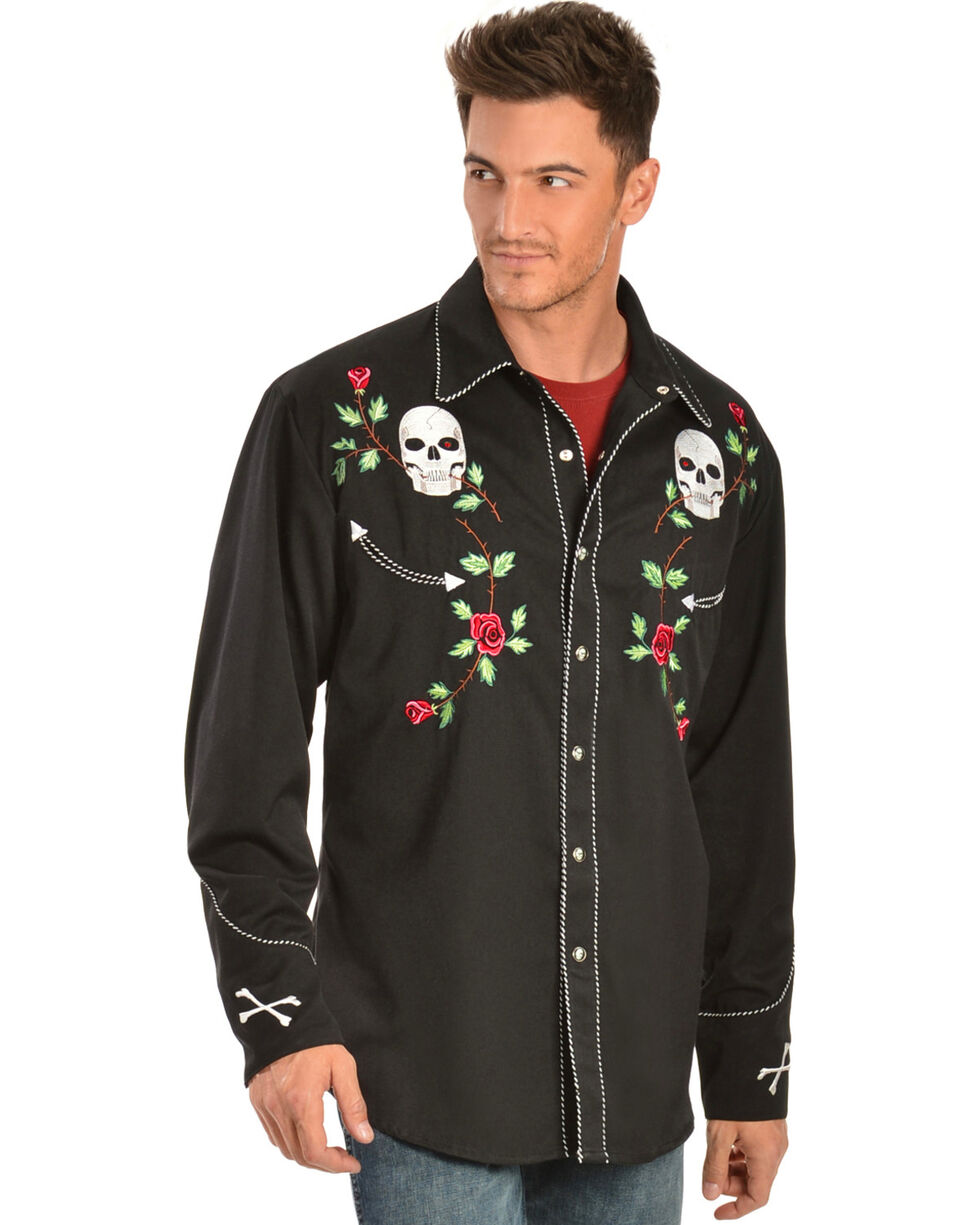 Scully Men's Skulls and Roses Western Shirt, Black, hi-res